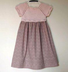Комбинированное летнее платье для девочки, вязание, вязание для детей, вязание спицами, детское платье, описание моделей, схемы вязания
