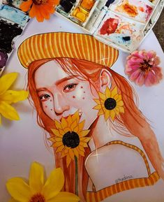 Girly Drawings, Kpop Drawings, Amazing Drawings, Amazing Art, Watercolor Portraits, Watercolor Art, Color Pencil Art, Kpop Fanart, Pretty Art