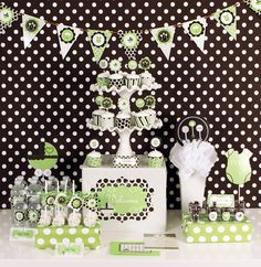 Green and Brown Boy or Neutral Baby Shower Decorating Party Kit