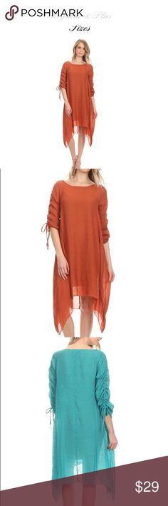 Rust Tunic Available in s-2x super cute on, looks great alone or with leggings or the sassy bling wide legged pants. Rust.. fits true to size sassy bling Tops Tunics