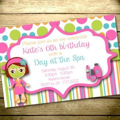 Digital Birthday Invitation - Print Your Own - Design Your Own - Matching Flat Thank You Card - Spa Day - 015
