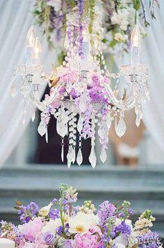 Featured Photographer: Vasia Weddings; Dreamy purple flower outdoor wedding reception decor