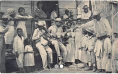 Very RARE photo of 1900's Blacks Native Music near San Juan, Puerto Rico postcard.