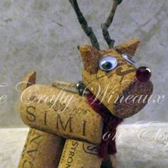 Rudolph, Reindeer Wine Cork Ornament in Poinsettia Red - The Crafty Wineaux
