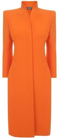 ALEXANDER MCQUEEN Orange Slim Fit Dresscoat...Something about an orange coat ever since Breakfast at Tiffany's.