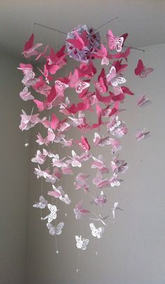 Monarch Butterfly Chandelier   Mobile -pink and white mix. $45.00, via Etsy. **Can also be  made with Dragonflies!