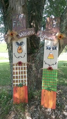 Scarecrows made from fence wood More