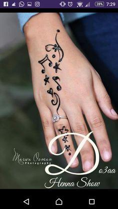 I like this one a lot! Henna Tattoo Designs Simple, Finger Henna Designs, Henna Art Designs, Bridal Henna Designs, Unique Mehndi Designs, Beautiful Henna Designs, Mehndi Simple, Henna Tattoo Hand, Hand Tattoos