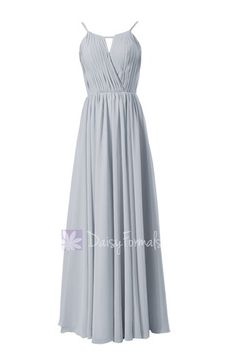 Elegant Silver Chiffon Bridesmaid Dress Long Pleated Formal Dress – DaisyFormals-Bridesmaid and Formal Dresses in 59+ Colors
