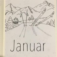 Bullet journal monthly cover page, January cover page, Winter drawings. @schoenverplant