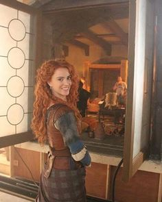 "Amy Manson: ""Waiting patiently for crew to set the bedchamber scene so merida can take a nap"""