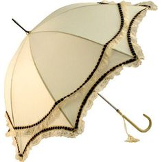 Umbrella Boutique Ivory Wedding Umbrella with Brown Satin Ribbon and Lace Trims