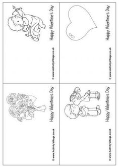 Small Valentine Colouring Cards 1