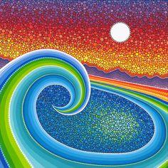 'Lotus Rainbow Mandala' Sticker by Elspeth McLean Mandala Art, Mandala Painting, Dot Art Painting, Stone Painting, Kunst Der Aborigines, Elspeth Mclean, Inspiration Art, Art Mural, Aboriginal Art