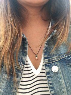 Perla natural #pearl #denim #stripes
