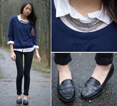 white button-down + statement necklace + sweater + black jeans + loafers : accessorizing rolled up sleeves, necklace over the collar, layering, collars