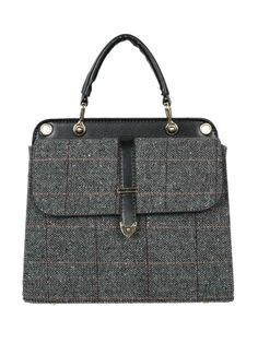 Gray Plaid PU Panel Tote Bag from choies.com