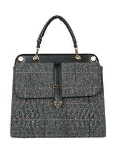 Gray Plaid PU Panel Tote Bag from choies.com