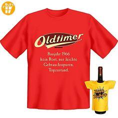 Geburtstags Set T-Shirt + Mini für die Flasche <-> Oldtimer Baujahr 1966 <-> Rot, ein kleines lustiges Geschenk Goodman Design® (*Partner-Link)