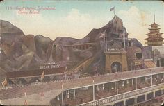 "Dreamland Coney Island, Brooklyn, New York.  ""Over The Great Divide"" ride operated at Dreamland 1907 - 1911. A scenic railway trip through the Rockies which included views of Yellowstone Mountain and the Great Divide. A volcano erupted at the highest point and there was even an Old Faithful geyser!"