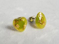 Tiny Lemongrass Heart and Teardrop Resin Ear Studs - Handmade Resin Jewelry Earrings with Gold Flakes