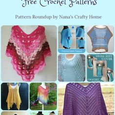 A list of free crochet patterns for summer ponchos all light, lacy and perfect for warmer weather! These patterns feature open and lacy stitches so you can throw these on for a cooler summer evening. Make with cotton and perfect as cover ups as well! Crochet Cape, Crochet Poncho Patterns, Crochet Shirt, Crochet Scarves, Crochet Clothes, Free Crochet, Crochet Vests, Scarf Patterns, Knitted Shawls