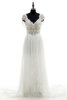 Fantastic Sheath-Column V-Neck Natural Chapel Train Chiffon Ivory Sleeveless Open Back Wedding Dress Beading Draped with Appliques and Beading LD3734