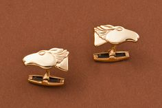 """Sculpted Horsehead Cufflinks in 14kt Gold or Sterling Silver  1"""""""
