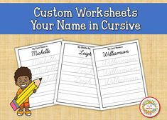 Name Tracing Worksheet, Cursive Name, Learn to Write Name, Cursive Writing, Child's Name, Personalized Worksheets, Custom Worksheets Learning To Write, Writing Practice, Learning Resources, Teacher Resources, Teaching Ideas, Name Tracing Worksheets, Writing Worksheets, Learn To Spell, Learn To Count