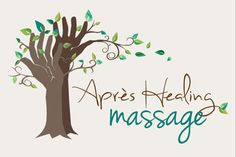 Beautiful massage logo. Green, blue and brown. Hand as trees, very clever!