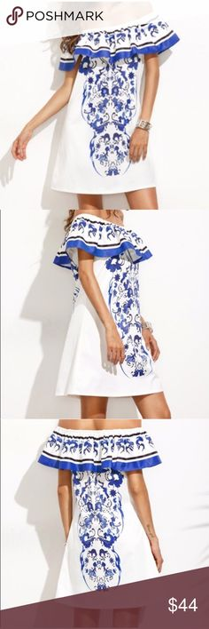 NWT Off The Shoulder White/Cobalt Ruffle Dress This is a re-posh. New with tags. Lined. Made of polyester. It's so pretty but has No stretch & It was listed as a size large but runs MUCH smaller so I'm Re-Listing it as a medium. Ask for measurements to be sure of fit before purchasing please. Off the shoulder Ruffle. Dresses Mini