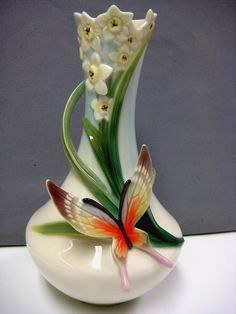 Franz porcelain butterfly vase
