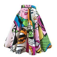 rockabilly pop art circle skirt