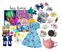 """""""through the looking glass"""" by chimera-pare on Polyvore featuring Disney, Alice + Olivia, Bobbi Brown Cosmetics, Jonathan Adler, Outlandish Creations, CB2, Wedgwood, Royal Albert, Cathy Waterman and Debauve & Gallais"""