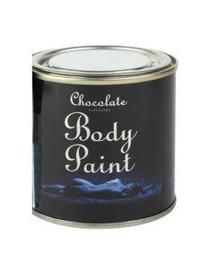 Excelente ideia de prenda para descobrir o efeito da terapia de chocolate. Kit romântico de pintura corporal composto por lata com chocolate comestível e pincel