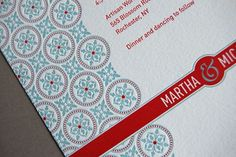 powder blue and red pattern design