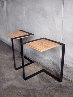 """The Brink's aggressive angles and sleek aesthetic are drawn from the shared  components of military hardware. A hand-blackened steel bracket sits flush  with rift-sawn white oak, making these heavy-duty materials seem light as a  feather.  The frame and tabletop are held together with three bolts (included).  TIG-welded steel frame with black patina, sealed with low-gloss lacquer;  oak tabletop with an all-natural beeswax/linseed oil finish. Tabletop is  14"""" x 14""""; overall dimensions are 17""""…"""