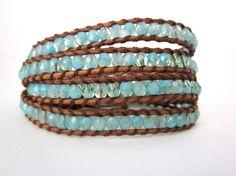 Beaded leather wrap bracelet faceted milky blue by wishingrock, $58.00