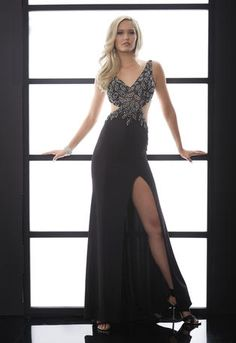 JASZ Couture - 5054 Sexy prom dress with stunning beaded bodice, side cutouts and daring low back in black at Estelle's Dressy Dresses! #estellesdressydresses