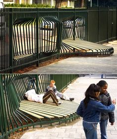 Designed as a playground fence, but would be fun for a backyard - built in seating