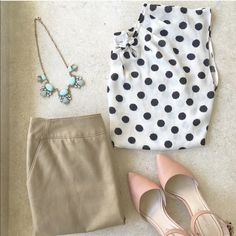Polka dots Blouse Beautiful blouse! Ivory and black, in excellent condition! ❤️ pet and smoke free home! Lauren Conrad Tops Blouses