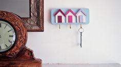 Shingle. Shabby Chic Beach Hut Key Rack, Three Hooks for Keys, Handmade, Shades of Pink, Our 'Shingle' Colour Scheme.