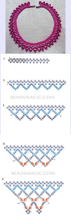 Mesh-Halskette - Jewellery and clutches - Seed Bead Jewelry, Bead Jewellery, Beaded Crafts, Jewelry Crafts, Beading Tutorials, Beading Patterns, Diy Collier, Beaded Necklace Patterns, Bead Crochet