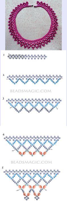 hálós nyaklánc fűzése Bead Jewellery, Seed Bead Jewelry, Beaded Jewelry, Jewelry Patterns, Beaded Necklace Patterns, Beaded Bracelets, Seed Bead Necklace, Bead Crochet Patterns, Beading Patterns