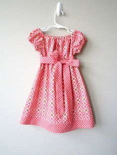 Girls Peasant Dress Coral Hearts Collection by crocodilecrunch, $38.00
