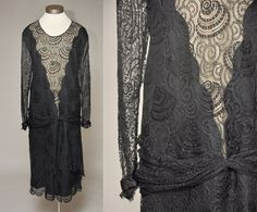 Vintage 20s black lace dress. This has a dropped waist with sash detail, long sleeves with satin feature and snap closures, multi-layer lace skirt, and inner nude lining. Pulls over head.  MEASUREMENTS:  fits like: large, extra large  bust: 45  waist: 46  hip: 48  length: 46 (from shoulder to bottom hem)  brand/label/maker: unknown  condition: this is in great condition with a few mends in the lace - additionally the nude silk lining was shattered in the back of the dress so it was removed…