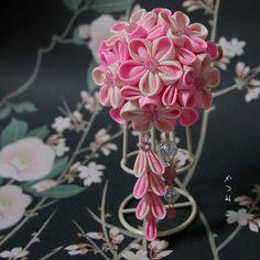 katumi made *つまみ細工の簪(かんざし)髪飾り、つまみ細工のshop*剣先つまみ細工のブローチ古布、ピンク系