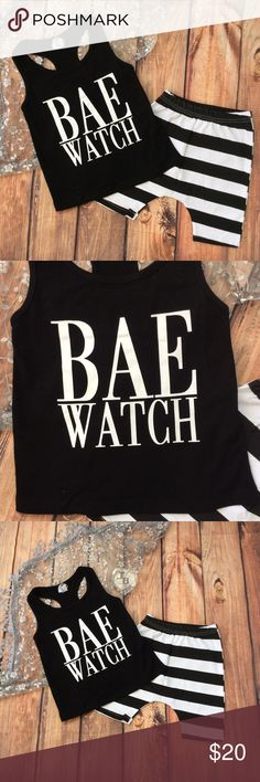 Boy Funny 2 pc Tank & Short Set BAE WATCH Adorable and funny 2pc boy set with tank style black top with white BAE WATCH across the top. Trendy black and white printed harem style shorts to top off the look. Just add sunglasses :) Matching Sets
