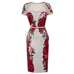 Women's Floral Print Mesh Bodycon Dress - USD $ 46.99