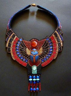Beautiful jewelry in Egyptian style Beaded statement necklace Bead Embroidery Jewelry, Beaded Jewelry, Handmade Jewelry, Beaded Necklaces, Crystal Jewelry, Silver Jewelry, Embroidery Bracelets, Wire Bracelets, Jewelry Art